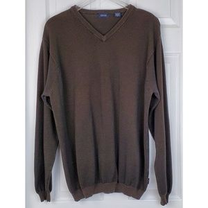 Izod v neck textured brown sweater size Xl